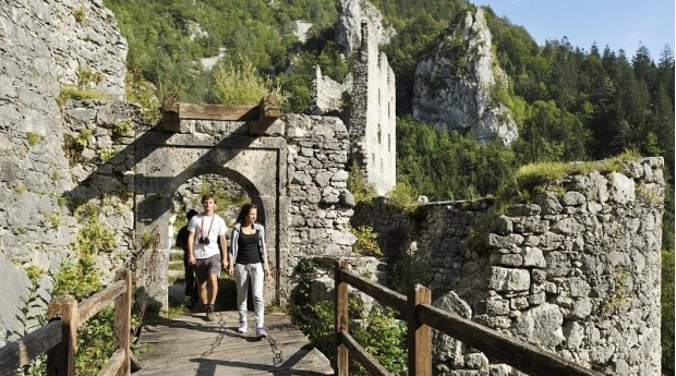 Walking through the ruins of the castle