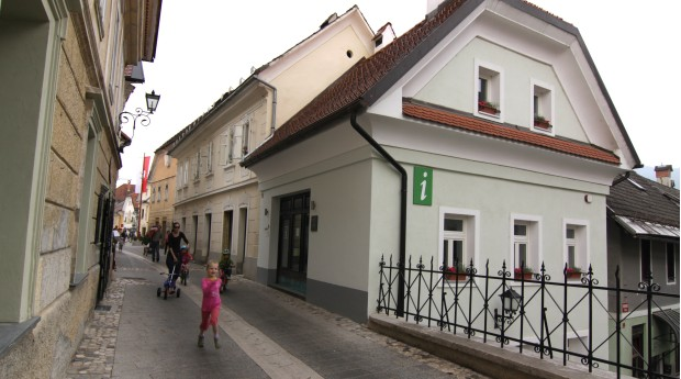 The Radovljica Tourist Information Centre at the entrance to the old town centre